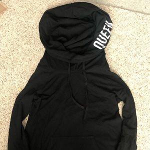 Black funnel neck queen hoodie